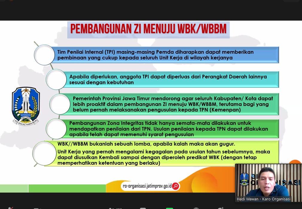 Rapat Koordinasi Pelaksanaan PMPRB dan PMPZI Pemerintah Kabupaten/Kota Se-Jawa Timur