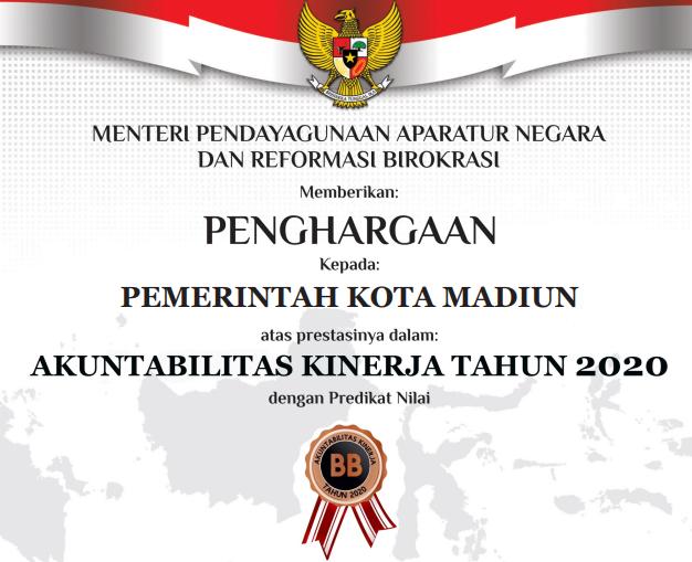 Piagam Penghargaan SAKIP Pemerintah Kota Madiun Tahun 2020